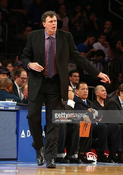 Head coach Kevin McHale of the Houston Rockets in action against the New York Knicks at Madison Square Garden on December 17 2012 in New York City...