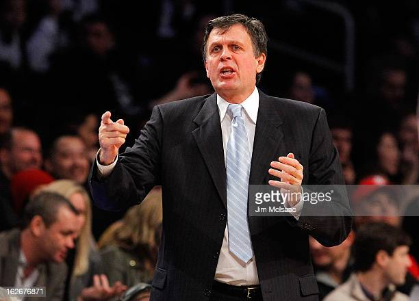 Head coach Kevin McHale of the Houston Rockets in action against the Brooklyn Nets at Barclays Center on February 22 2013 in the Brooklyn borough of...