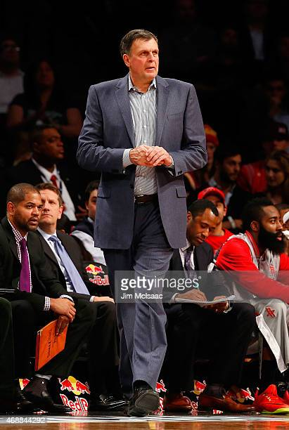 Head coach Kevin McHale of the Houston Rockets in action against the Brooklyn Nets at Barclays Center on January 12 2015 in the Brooklyn borough of...