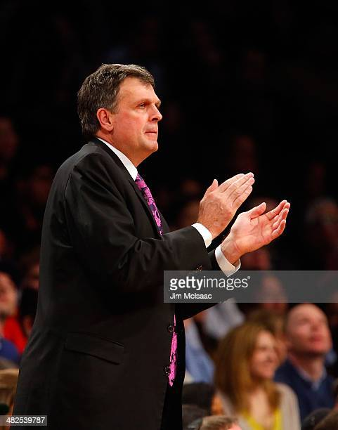 Head coach Kevin McHale of the Houston Rockets in action against the Brooklyn Nets at Barclays Center on April 1 2014 in the Brooklyn borough of New...