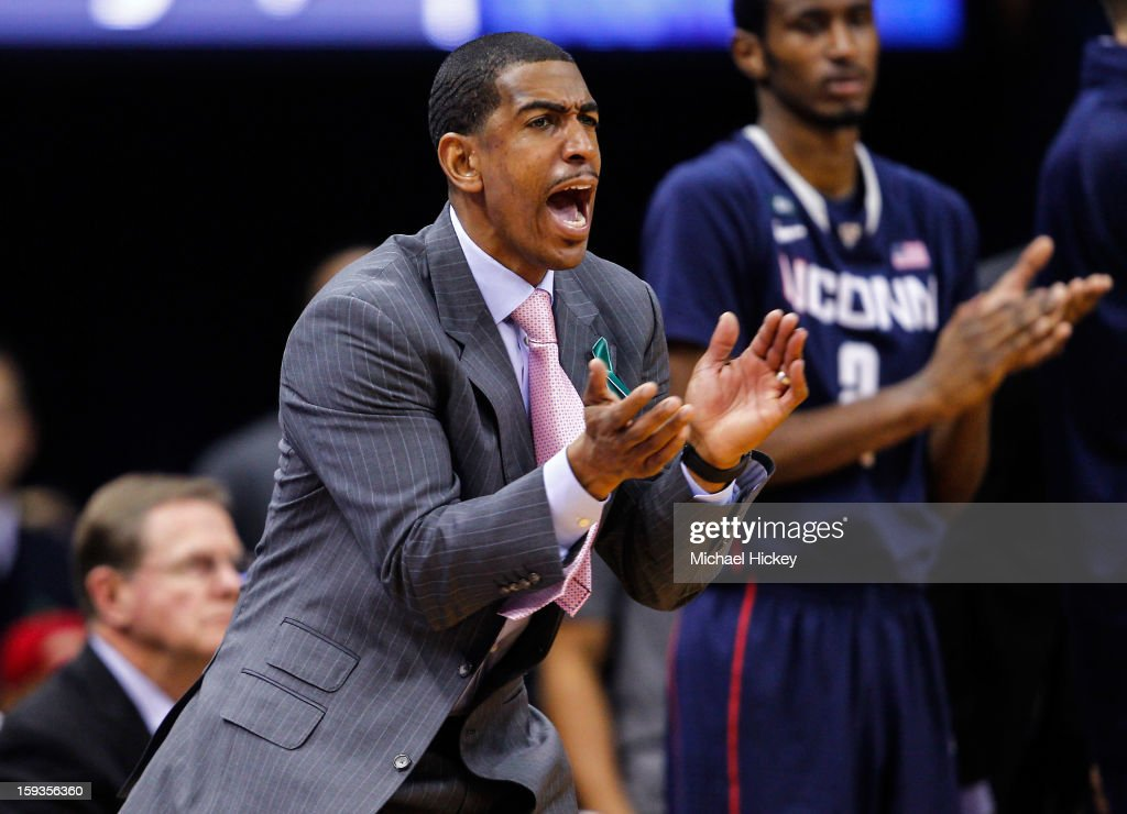 Head coach Kevin Ollie of the Connecticut Huskies is seen on the sidelines during the game against the Notre Dame Fighting Irish at Purcel Pavilion on January 12, 2013 in South Bend, Indiana. Connecticut defeated Notre Dame 65-58.