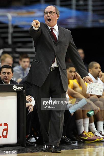 Head coach Kevin O'Neill of the USC Trojans reacts in the first half while taking on the California Golden Bears in the quarterfinals of the 2011...