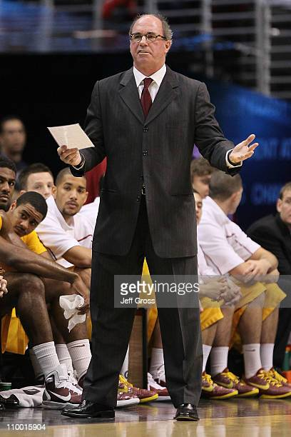 Head coach Kevin O'Neill of the USC Trojans reacts while taking on the California Golden Bears in the quarterfinals of the 2011 Pacific Life Pac10...
