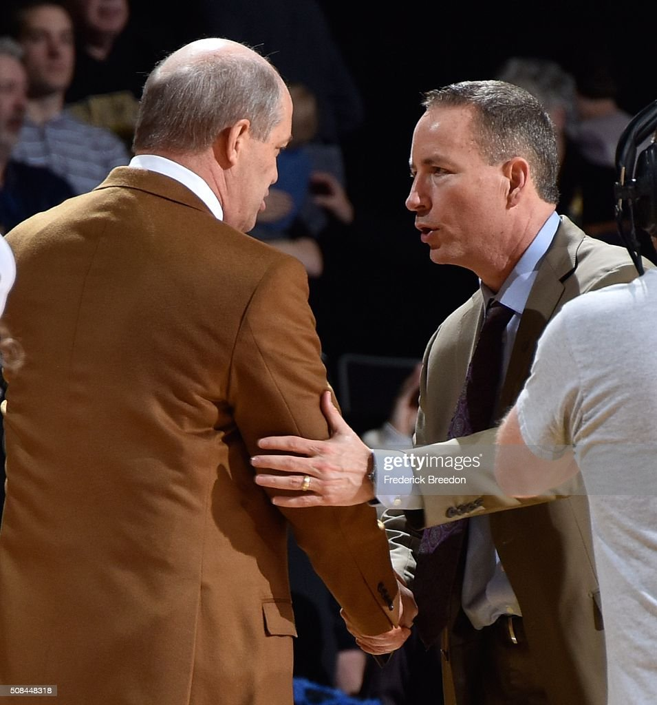 Head coach Kevin Stallings of the Vanderbilt Commodores shakes the hand of head coach Billy Kennedy after a 77-60 Vanderbilt upset of Texas A&M at Memorial Gym on February 4, 2016 in Nashville, Tennessee.