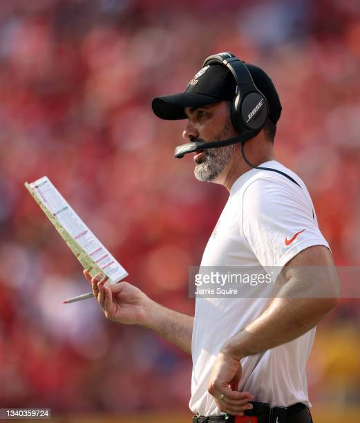 Head coach Kevin Stefanski of the Cleveland Browns watches from the sidelines during the game against the Kansas City Chiefs at Arrowhead Stadium on...