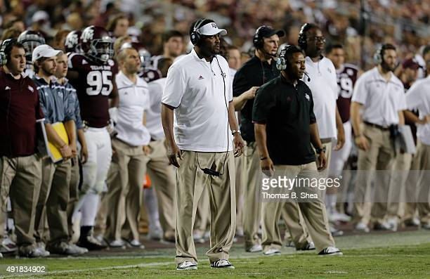 Head coach Kevin Sumlin of the Texas AM Aggies coaches against the Mississippi State Bulldogs on October 3 2015 at Kyle Field in College Station...