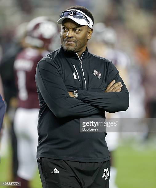 Head coach Kevin Sumlin of the Texas AM Aggies during warm ups before playing against the Auburn Tigers at Kyle Field on November 7 2015 in College...