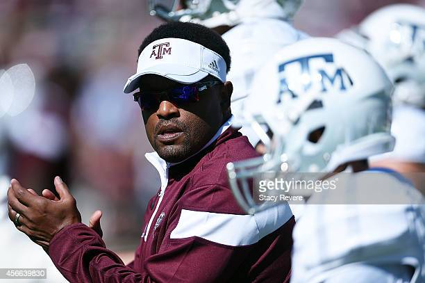 Head coach Kevin Sumlin of the Texas AM Aggies leads his team onto the field prior to a game against the Mississippi State Bulldogs at Davis Wade...