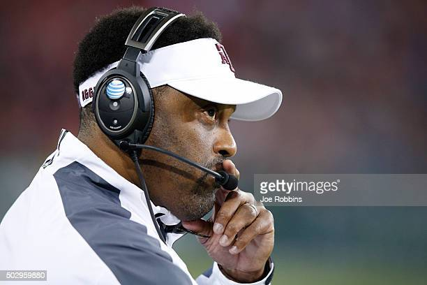 Head coach Kevin Sumlin of the Texas AM Aggies looks on against the Louisville Cardinals in the first half of the Franklin American Mortgage Music...