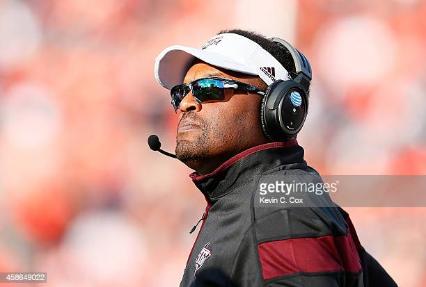 Head coach Kevin Sumlin of the Texas AM Aggies looks on during the game against the Auburn Tigers at Jordan Hare Stadium on November 8 2014 in Auburn...