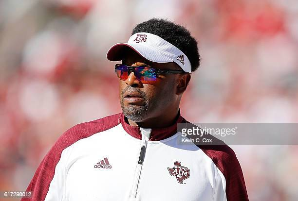 Head coach Kevin Sumlin of the Texas AM Aggies looks on during the game against the Alabama Crimson Tide at BryantDenny Stadium on October 22 2016 in...