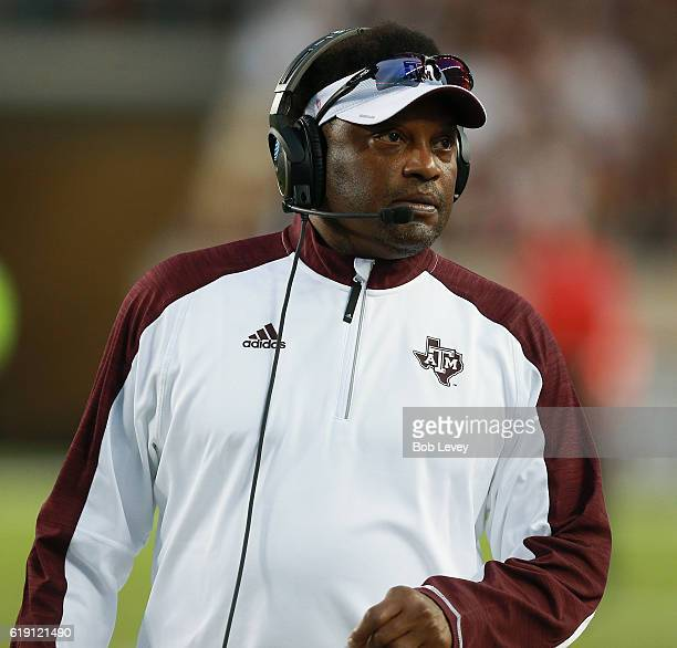 Head coach Kevin Sumlin of the Texas AM Aggies looks on from the sidelines in the first half against the New Mexico State Aggies at Kyle Field on...