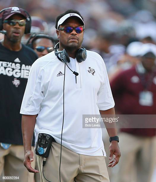 Head coach Kevin Sumlin of the Texas AM Aggies looks on from the bench on September 3 2016 in College Station Texas