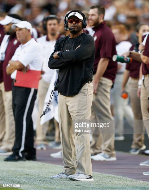Head coach Kevin Sumlin of the Texas AM Aggies looks on in the first half against the South Carolina Gamecocks at Kyle Field on September 30 2017 in...