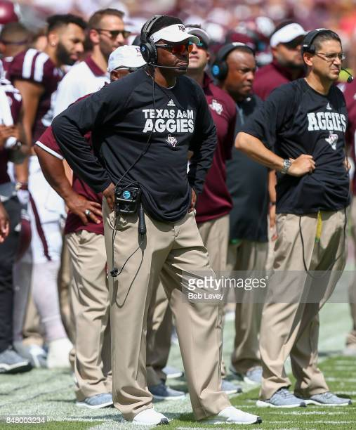 Head coach Kevin Sumlin of the Texas AM Aggies looks on in the second half against the LouisianaLafayette Ragin Cajuns at Kyle Field on September 16...