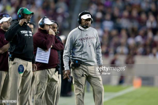 Head coach Kevin Sumlin of the Texas AM Aggies reacts on the sideline in the first quarter against the Mississippi State Bulldogs at Kyle Field on...