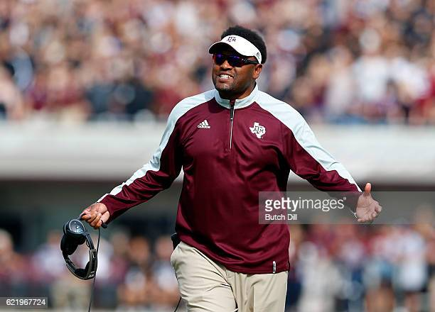 Head coach Kevin Sumlin of the Texas AM Aggies reacts to a call during the first half of an NCAA college football game against the Mississippi State...