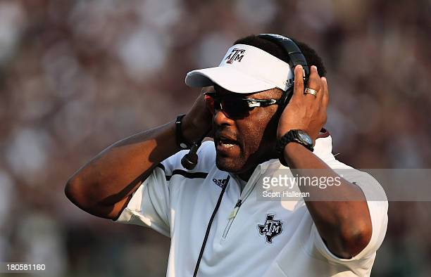 Head Coach Kevin Sumlin of the Texas AM Aggies reacts to a play in the fourth quarter during the game against the Alabama Crimson Tide at Kyle Field...