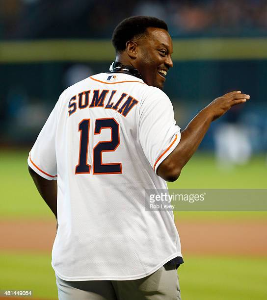 Head coach Kevin Sumlin of the Texas AM Aggies throws out the first pitch at Minute Maid Park on July 19 2015 in Houston Texas
