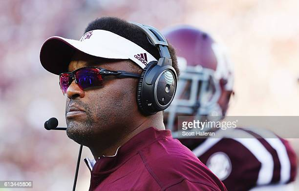 Head coach Kevin Sumlin of the Texas AM Aggies waits on the sideline in the second half of their game against the Tennessee Volunteers at Kyle Field...