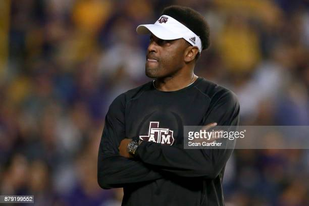 Head coach Kevin Sumlin of the Texas AM Aggies walks on the field prior to a game against the LSU Tigers at Tiger Stadium on November 25 2017 in...