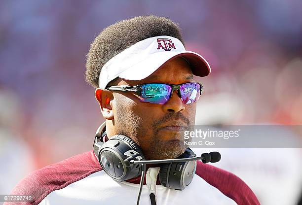 Head coach Kevin Sumlin of the Texas AM Aggies walks onto the field prior to facing the Alabama Crimson Tide at BryantDenny Stadium on October 22...