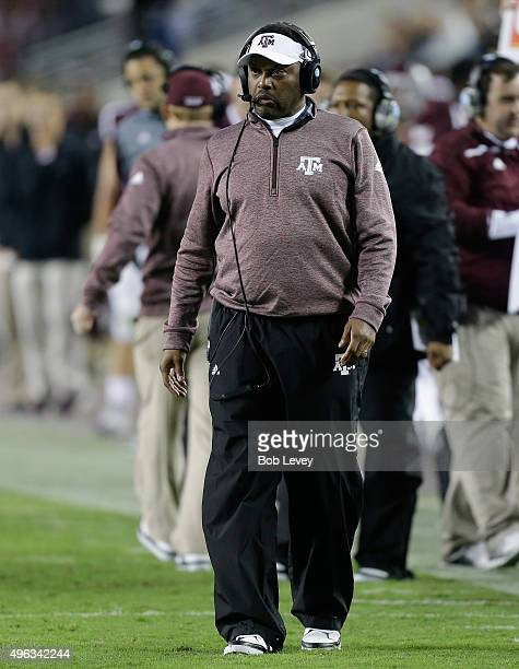 Head coach Kevin Sumlin of the Texas AM Aggies walks the sidelines while playing against the Auburn Tigers at Kyle Field on November 7 2015 in...