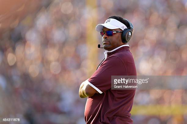 Head coach Kevin Sumlin of the Texas AM Aggies watches his team during their game against the South Carolina Gamecocks at WilliamsBrice Stadium on...