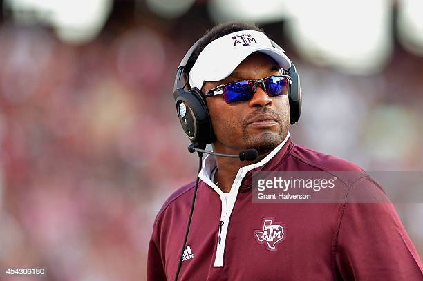 Head coach Kevin Sumlin of the Texas AM Aggies watches his team play against the South Carolina Gamecocks during their game at WilliamsBrice Stadium...