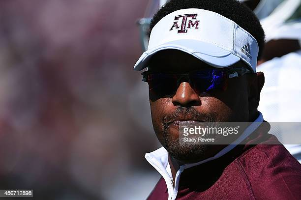 Head coach Kevin Sumlin of the Texas AM Aggies watches his team prior to a game against the Mississippi State Bulldogs at Davis Wade Stadium on...