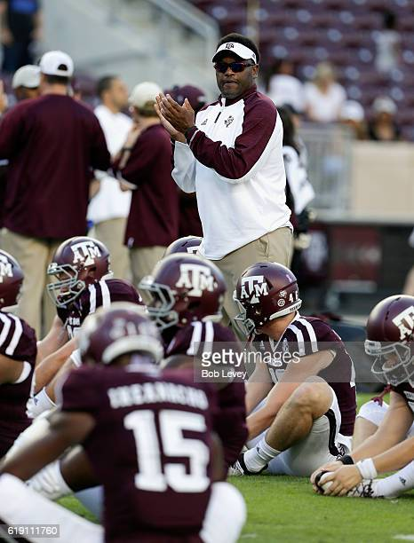 Head coach Kevin Sumlin of the Texas AM Aggies watches over pregame warmups before playing New Mexico State Aggies at Kyle Field on October 29 2016...