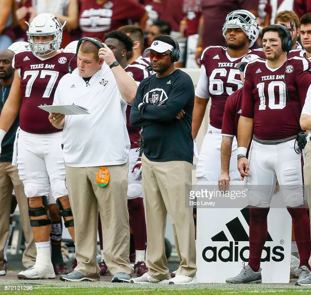 Head coach Kevin Summon of the Texas AM Aggies looks on from the sidelines against the Auburn Tigers at Kyle Field on November 4 2017 in College...