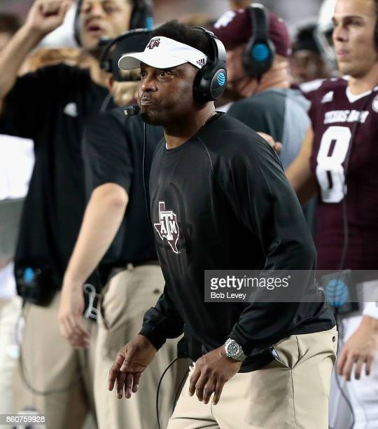 Head coach Kevin Summon of the Texas AM Aggies watches on from the sidelines against the Alabama Crimson Tide at Kyle Field on October 7 2017 in...