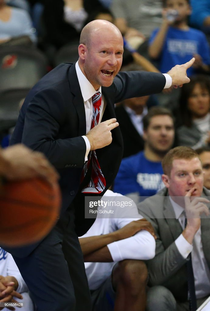 Head coach Kevin Willard of the Seton Hall Pirates calls a play during the first half of a game against the Georgetown Hoyas at Prudential Center on January 13, 2018 in Newark, New Jersey. Seton Hall defeated Georgetown 74-61.