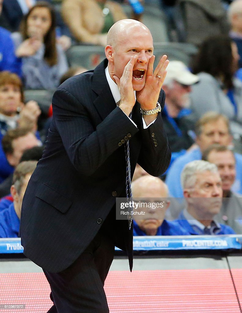 Head coach Kevin Willard of the Seton Hall Pirates yells to his team during the first half against the Providence Friars in an NCAA college basketball game on February 25, 2016 at the Prudential Center in Newark, New Jersey. Seton Hall defeated Providence 70-52.