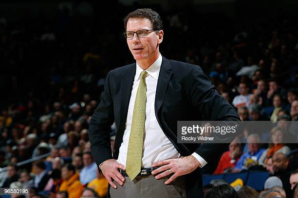 Head Coach Kiki Vandeweghe of the New Jersey Nets watches from the sidelines during the game against the Golden State Warriors on January 22 2010 at...