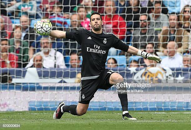 Head coach Kiko Casilla of Real Madrid in action during the La Liga match between Real Madrid CF and Sevilla FC at Estadio Santiago Bernabeu on April...
