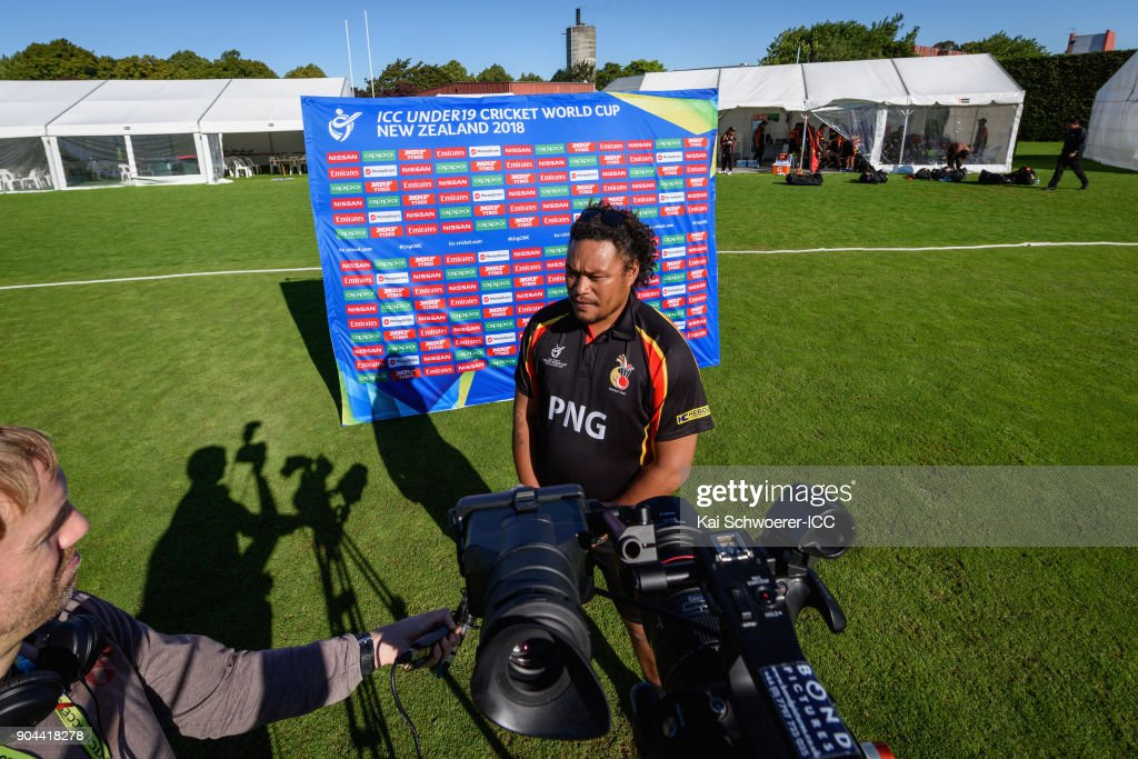 Head Coach Kila Pala of Papua New Guinea speaks to the media after the loss in the ICC U19 Cricket World Cup match between Zimbabwe and Papua New Guinea at Lincoln Green on January 13, 2018 in Christchurch, New Zealand.