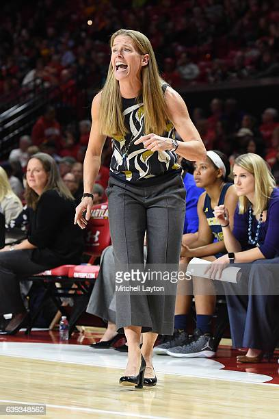 Head coach Kim Barnes Arico of the Michigan Wolverines looks on during a women's college basketball game against the Maryland Terrapins at the...