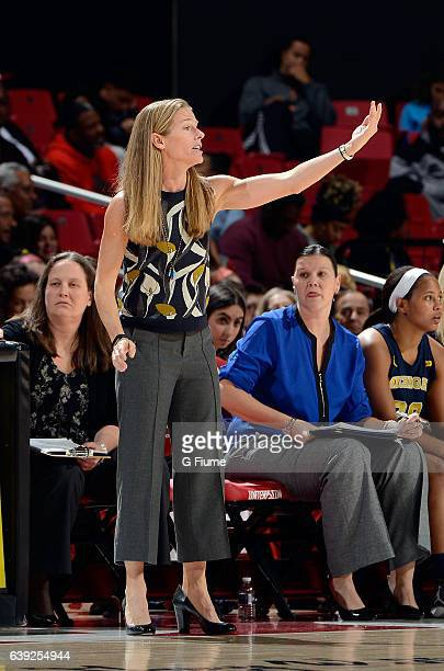 Head coach Kim Barnes Arico of the Michigan Wolverines watches the game against the Maryland Terrapins at Xfinity Center on January 19 2017 in...