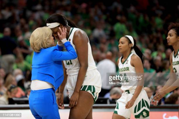 Head coach Kim Mulkey and Kalani Brown of the Baylor Lady Bears react against the Notre Dame Fighting Irish during the second quarter in the...