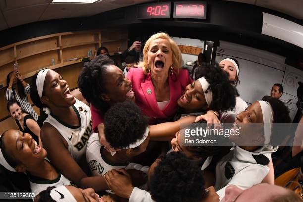 Head coach Kim Mulkey of the Baylor Bears celebrate their win over the Oregon Ducks at Amalie Arena on April 5 2019 in Tampa Florida
