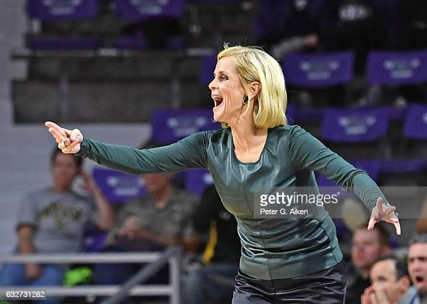 Head coach Kim Mulkey of the Baylor Bears instructs her team against the Kansas State Wildcats during the first half on January 25 2017 at Bramlage...