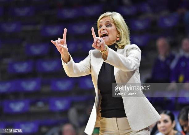 Head coach Kim Mulkey of the Baylor Bears instructs her team during the first half against the Kansas State Wildcats on February 13 2019 at Bramlage...