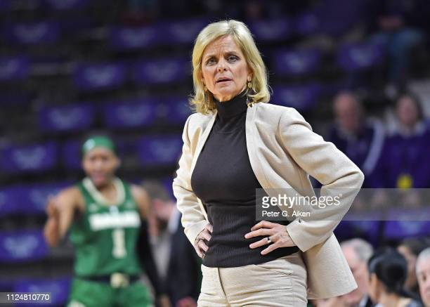 Head coach Kim Mulkey of the Baylor Bears reacts after a foul call against the Bears during the first half against the Kansas State Wildcats on...
