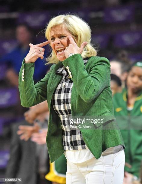 Head coach Kim Mulkey of the Baylor Lady Bears calls out instructions to her players during the fourth quarter against the Kansas State Wildcats on...