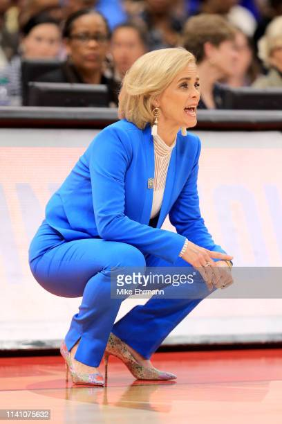 Head coach Kim Mulkey of the Baylor Lady Bears instructs her team against the Notre Dame Fighting Irish during the first quarter in the championship...