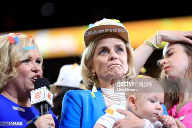 Head coach Kim Mulkey of the Baylor Lady Bears is interviewed after the 8281 win over the Notre Dame Fighting Irish to win the championship game of...