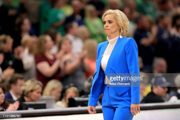 Head coach Kim Mulkey of the Baylor Lady Bears reacts after Lauren Cox is taken off in a wheelchair after sustaining a leg injury against the Notre...
