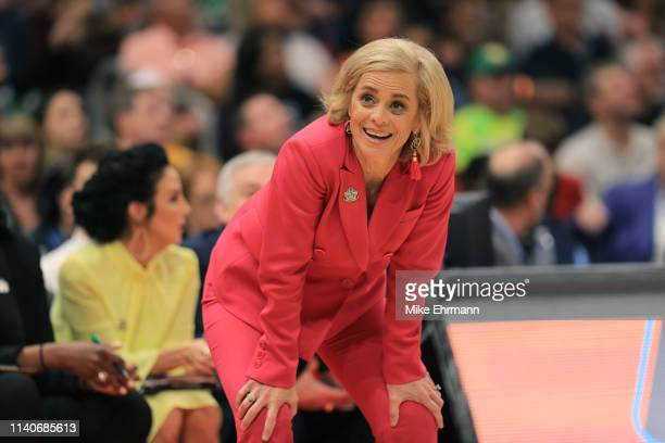 Head coach Kim Mulkey of the Baylor Lady Bears reacts against the Oregon Ducks during the fourth quarter in the semifinals of the 2019 NCAA Women's...